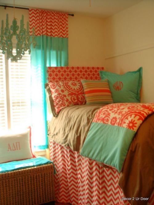 Tiffany Blue and Coral Dorm Room | Dorm room bedding ...