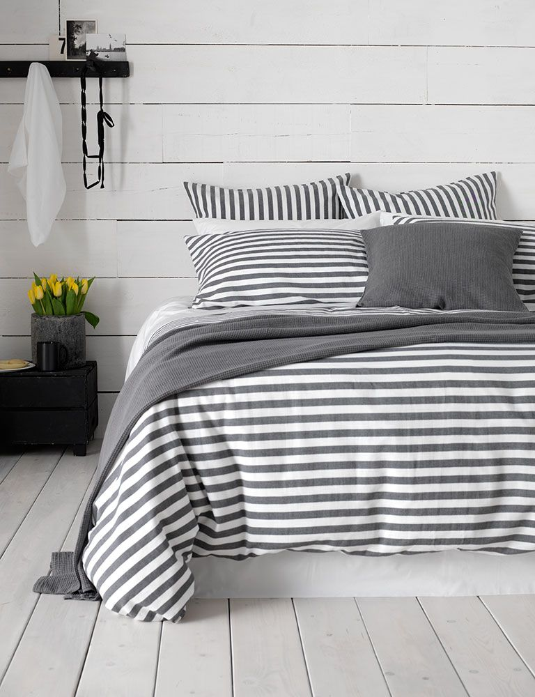 Our Coastal Stripe Charcoal Bed Linen Is The Perfect Companion For Your Coastal Inspired Bedroo Grey Bedroom Design Coastal Bedroom Decorating Coastal Bedrooms