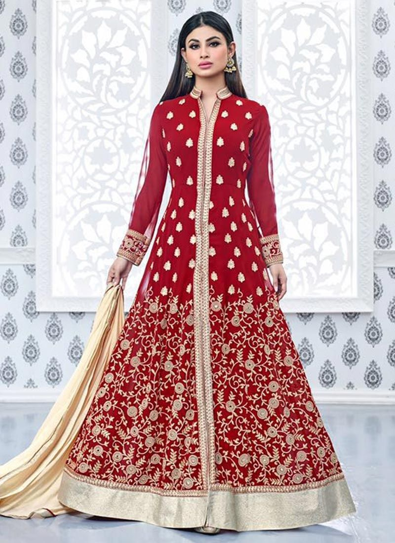 Designer salwar kameez mesmeric peach color net designer suit - Buy Mesmeric Mouni Roy Red Designer Floor Length Suit Mouniroy Salwarsuit Floorlengthsuit