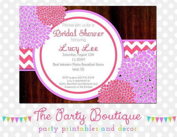 Purple n Pink Peonies n Wood Bridal Shower by APartyBoutique, $12.00