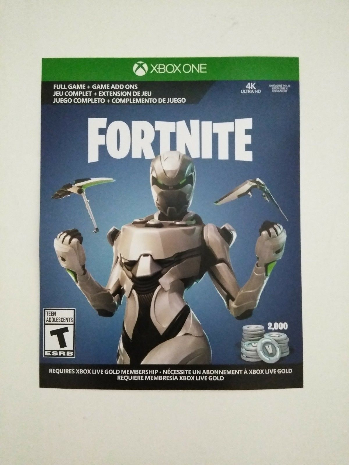 Fortnite Xbox One Eon Skin Cosmetic Set Skin2000 V Bucks Physical