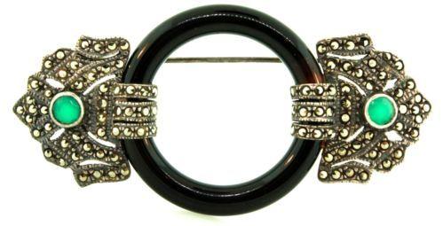 Vtg LRG Art Deco Black Onyx Marcasite Chrysoprase Sterling Silver 925 Brooch Pin   eBay/$375