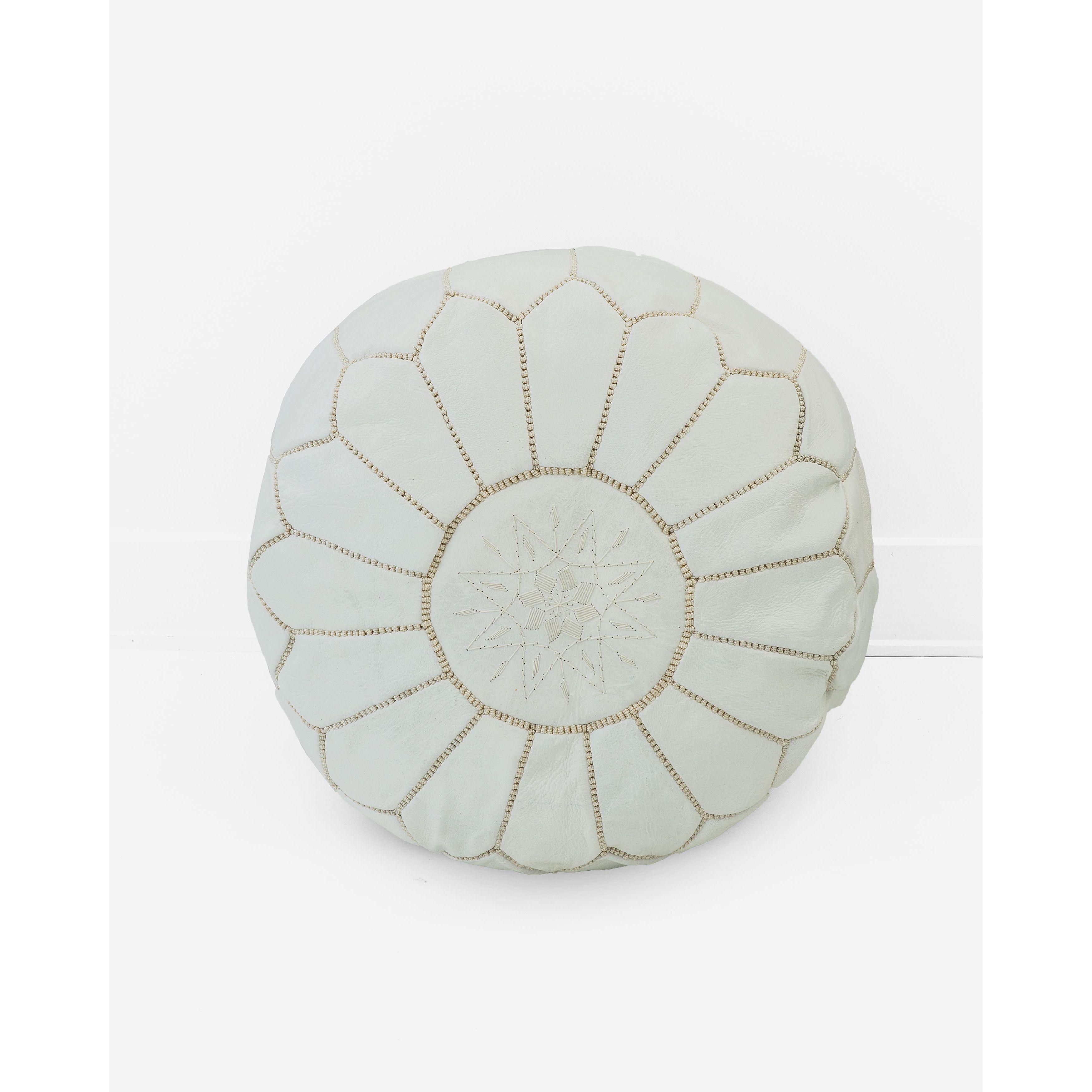 Handmade Moroccan Leather Pouf Unstuffed Ottoman, White (Morocco ...
