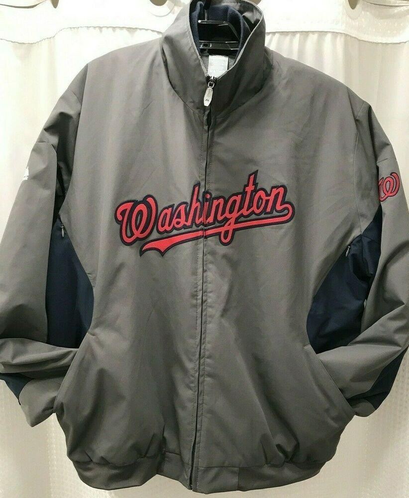 Washington Nationals Majestic Jacket Full Zip Baseball Mlb Jacket Large Gray Majestic Washingtonnationals In 2020 Mlb Jackets Jackets Mlb Baseball