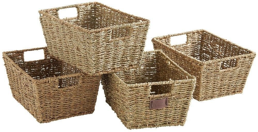 Bon Set Of 4 Woven Seagrass Storage Baskets Organizer Box Container Bathroom  Bedroom