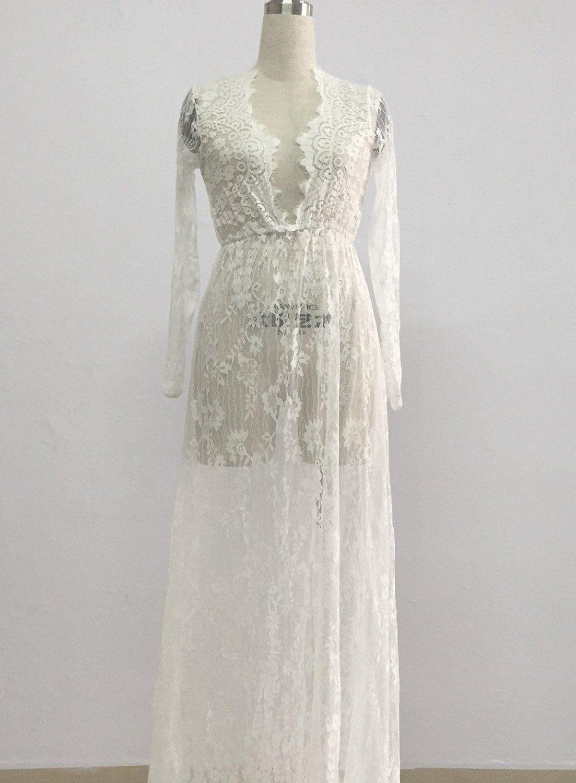 yomoko sexy deep v-neck long sleeve lace beach dress see-through