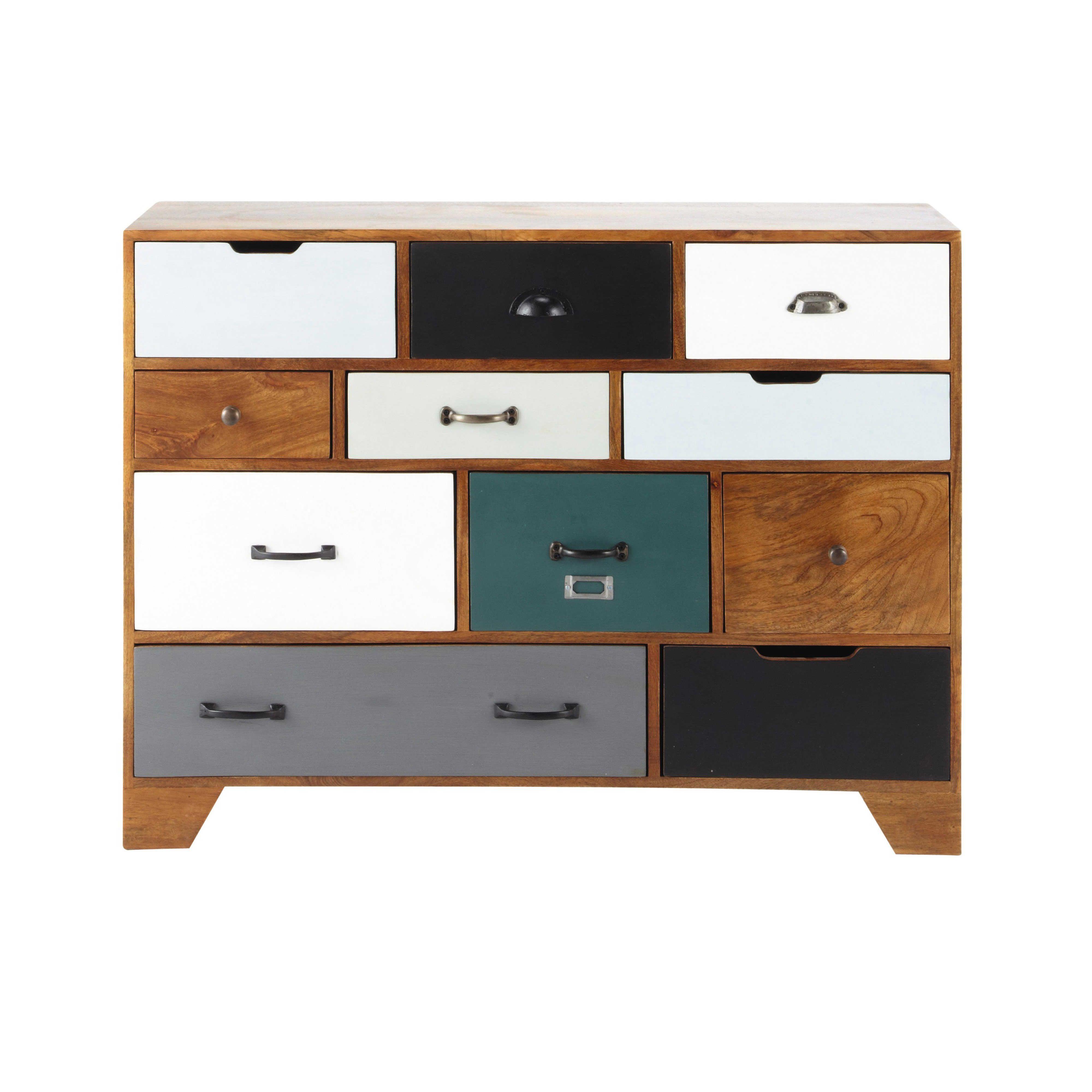Maison Du Monde Mobili.Solid Mango Wood Vintage Cabinet W 114cm Retro Sideboard