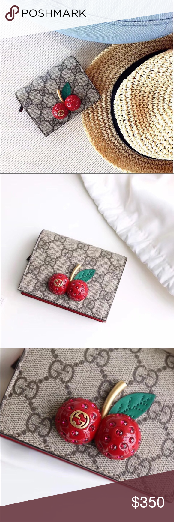 Gg Supreme Card Case With Cherries Mint Condition For Only Few Days Small Wallet