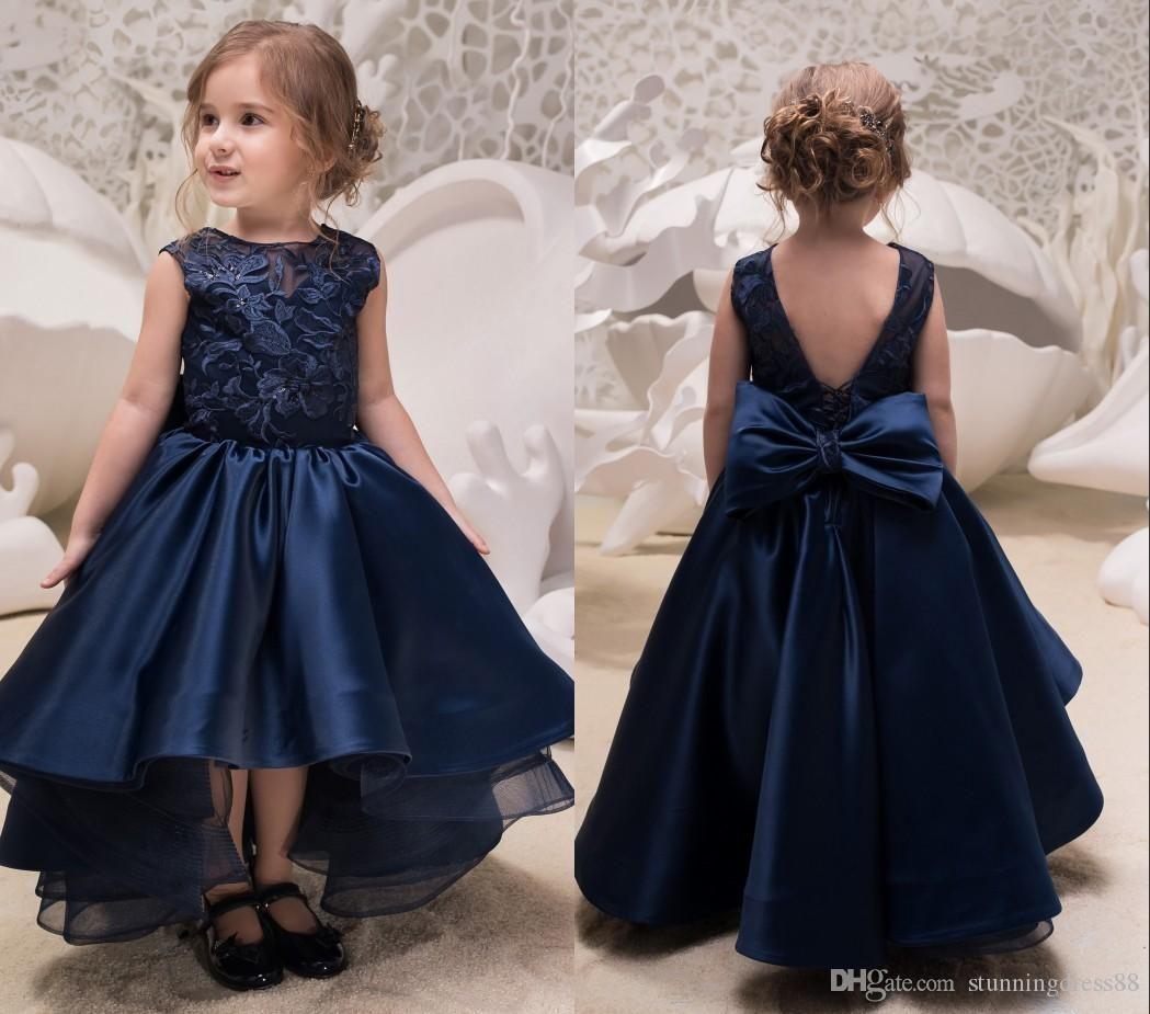 Lovely Hi Low Navy Blue 2019 Littler Girls Pageant Dresses Junior Toddler Bridesmai Navy Blue Flower Girl Dresses Kids Prom Dresses Little Girl Pageant Dresses