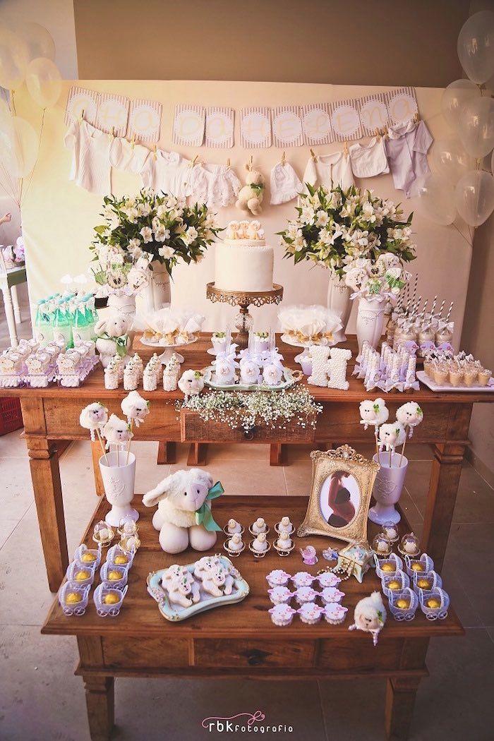 dessert table from a little lamb baby shower via karas party ideas karaspartyideascom