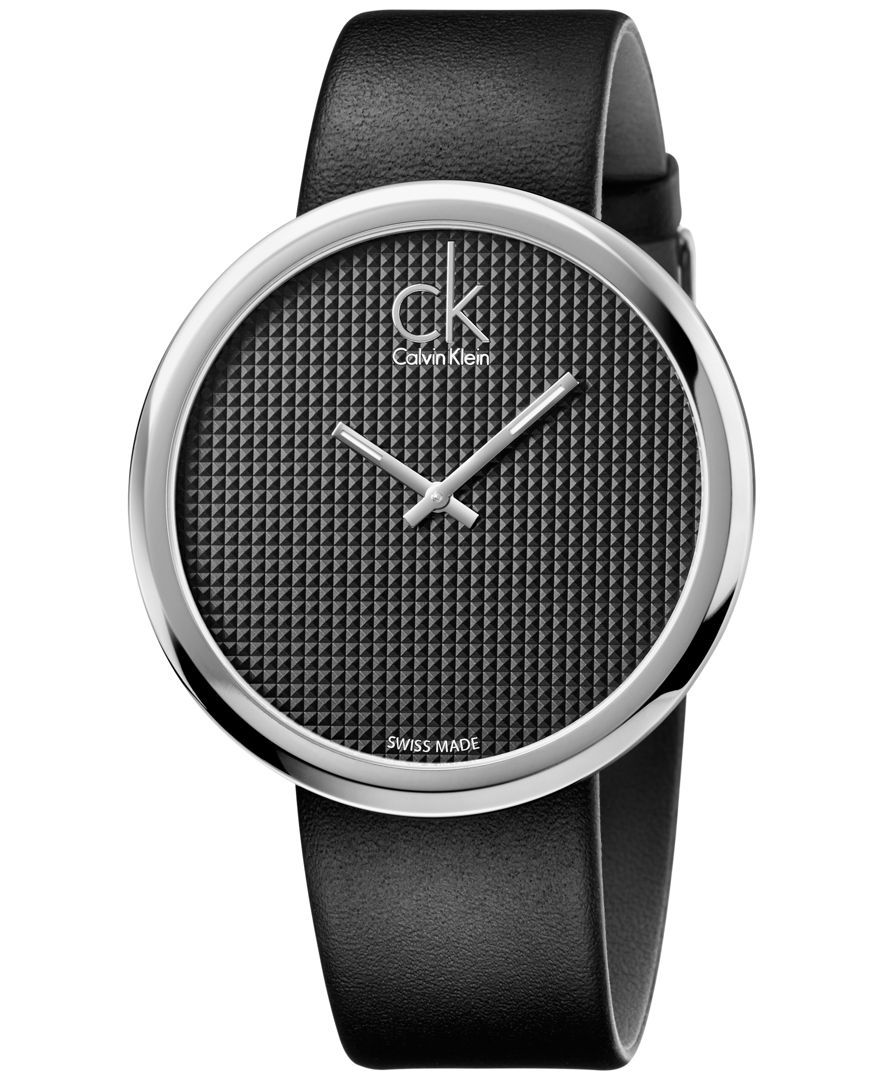 Calvin Klein Women s Swiss Subtle Black Leather Strap Watch 46mm K0V231C1 50de2bf96a0