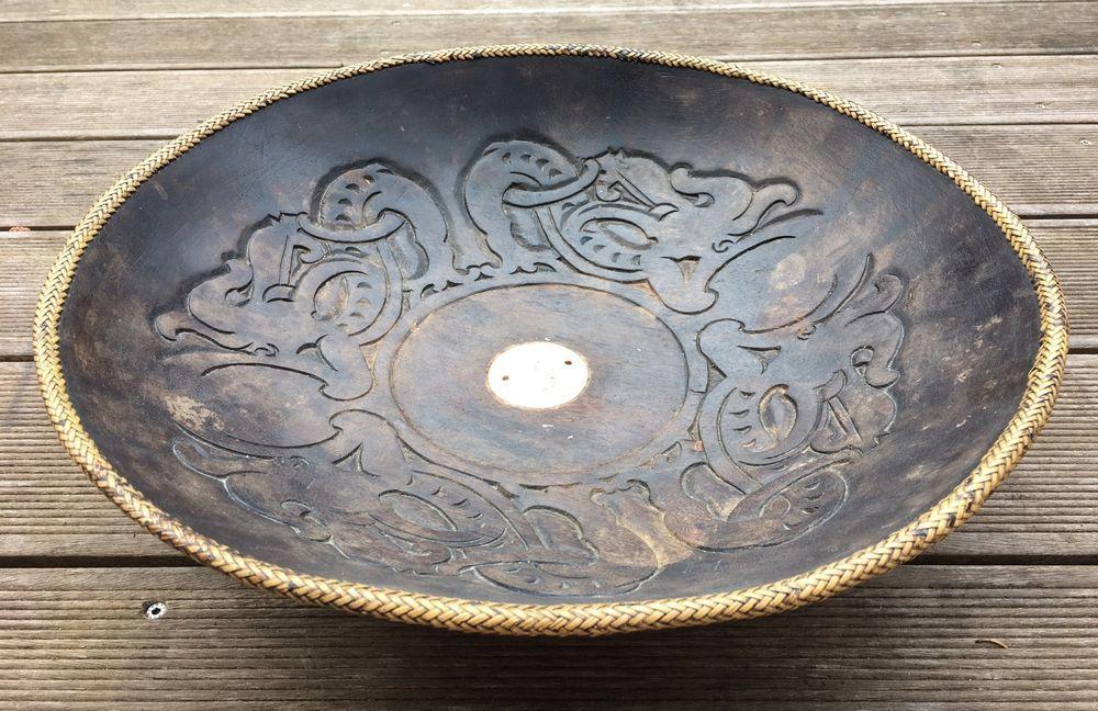 gro e wundersch ne holzschale aus asien muschel einlegearbeit ornamente in m bel wohnen. Black Bedroom Furniture Sets. Home Design Ideas