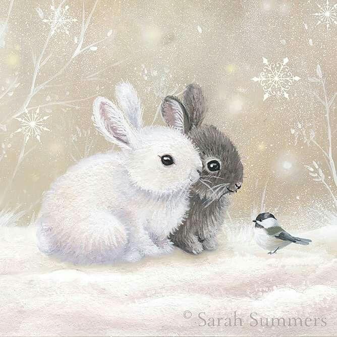 little winter rabbits animal art in 2019 rabbit art. Black Bedroom Furniture Sets. Home Design Ideas