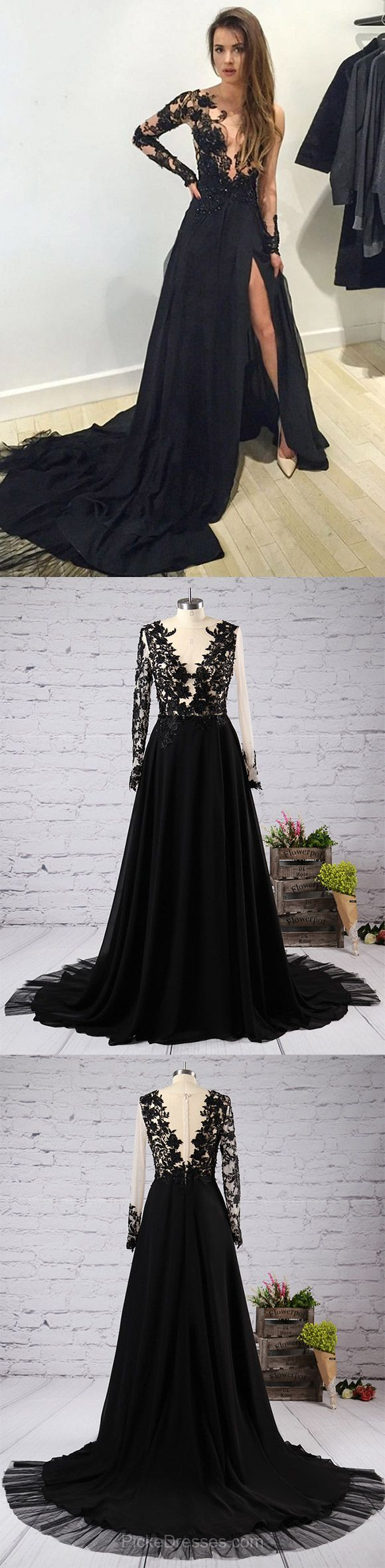 Long sleeve scoop neck tulle appliques lace court train black prom
