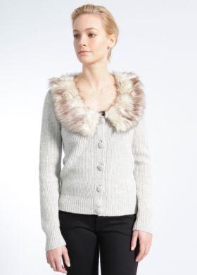 Sonja Ribbed Wool Cardigan w/ Faux Fur Collar