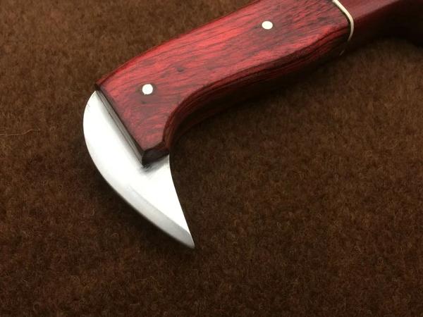 (1) CUSTOM HANDMADE 1095 STEEL KARABIT KNIFE WITH LEATHER SHEATH – Stoneageknives