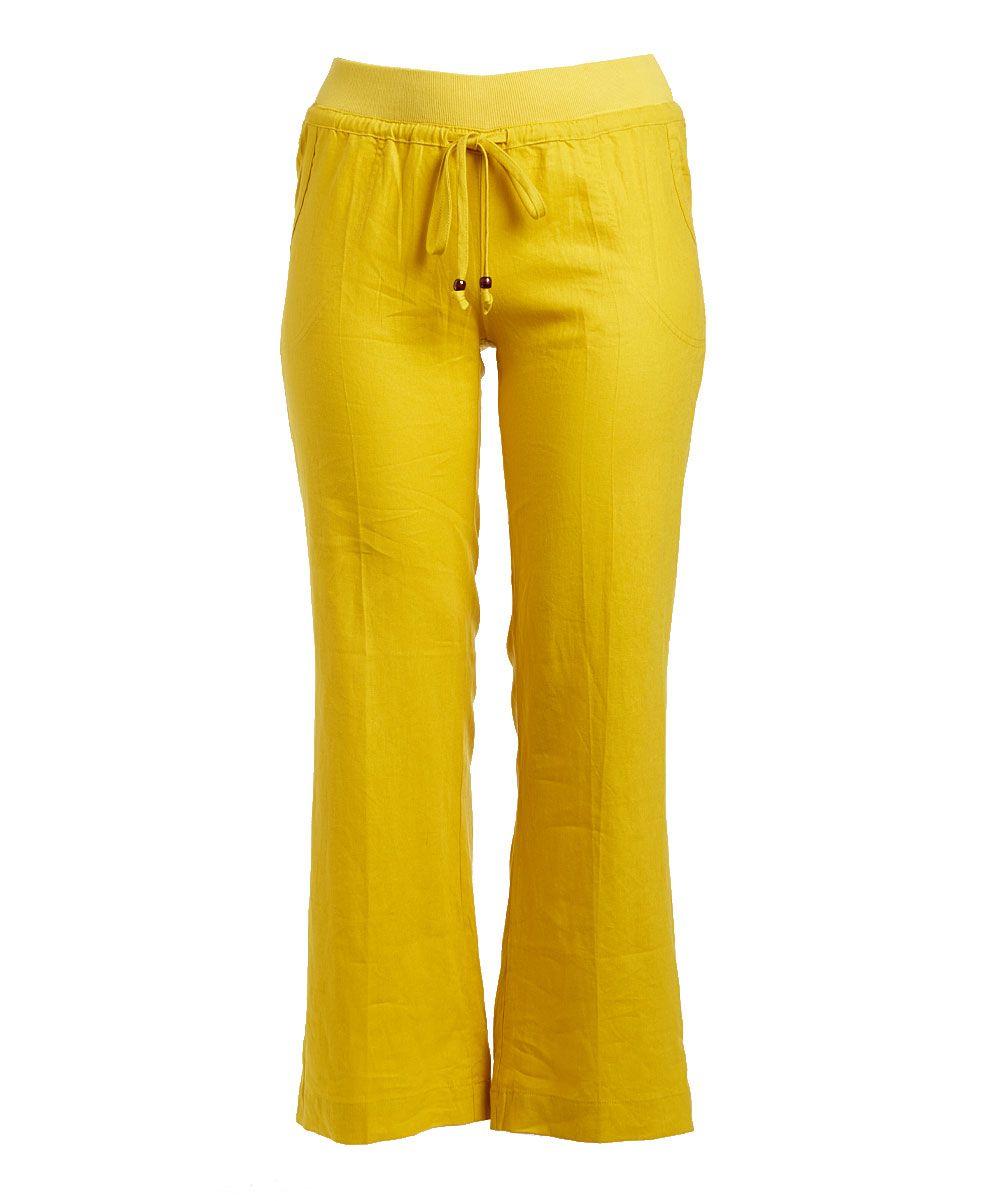 Mustard Linen-Blend Wide-Leg Pants - Plus