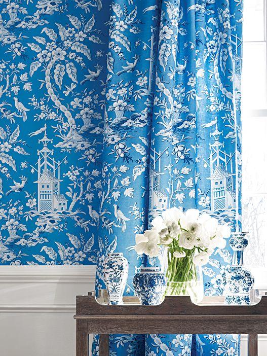 pattern on pattern blue and white pagoda print thibaut home rh pinterest com