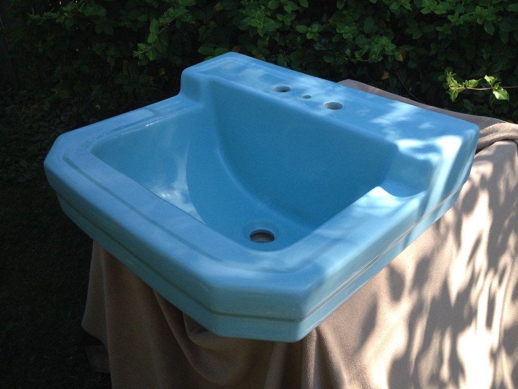 Vintage Mid Century Modern Baby Blue Antique Wall Sink Circa 1957