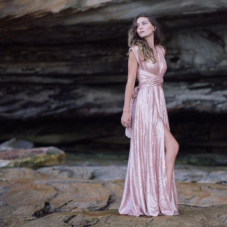 Breathtakingly beautiful in  goddessbynature sequins multiway ballgown with  sexy leg slit in the blushing pink colour.  whiterunway d826e9470