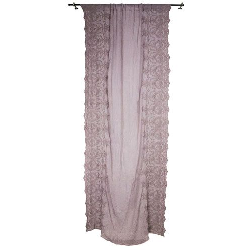 Rose Cotton Side Embellished 55 X 102 Inch Curtain Panel Rod