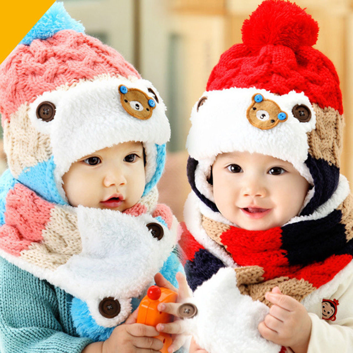 8.51 - Baby Toddler Winter Beanie Warm Hat Hooded Scarf Earflap Knitted  Cap Girls Boys  ebay  Fashion 460b3e6284f0