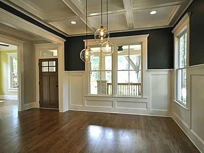 Do We Want Any Wainscot Wall Paneling In The Dining Room  Isle Gorgeous Coffered Ceiling Dining Room Decorating Inspiration