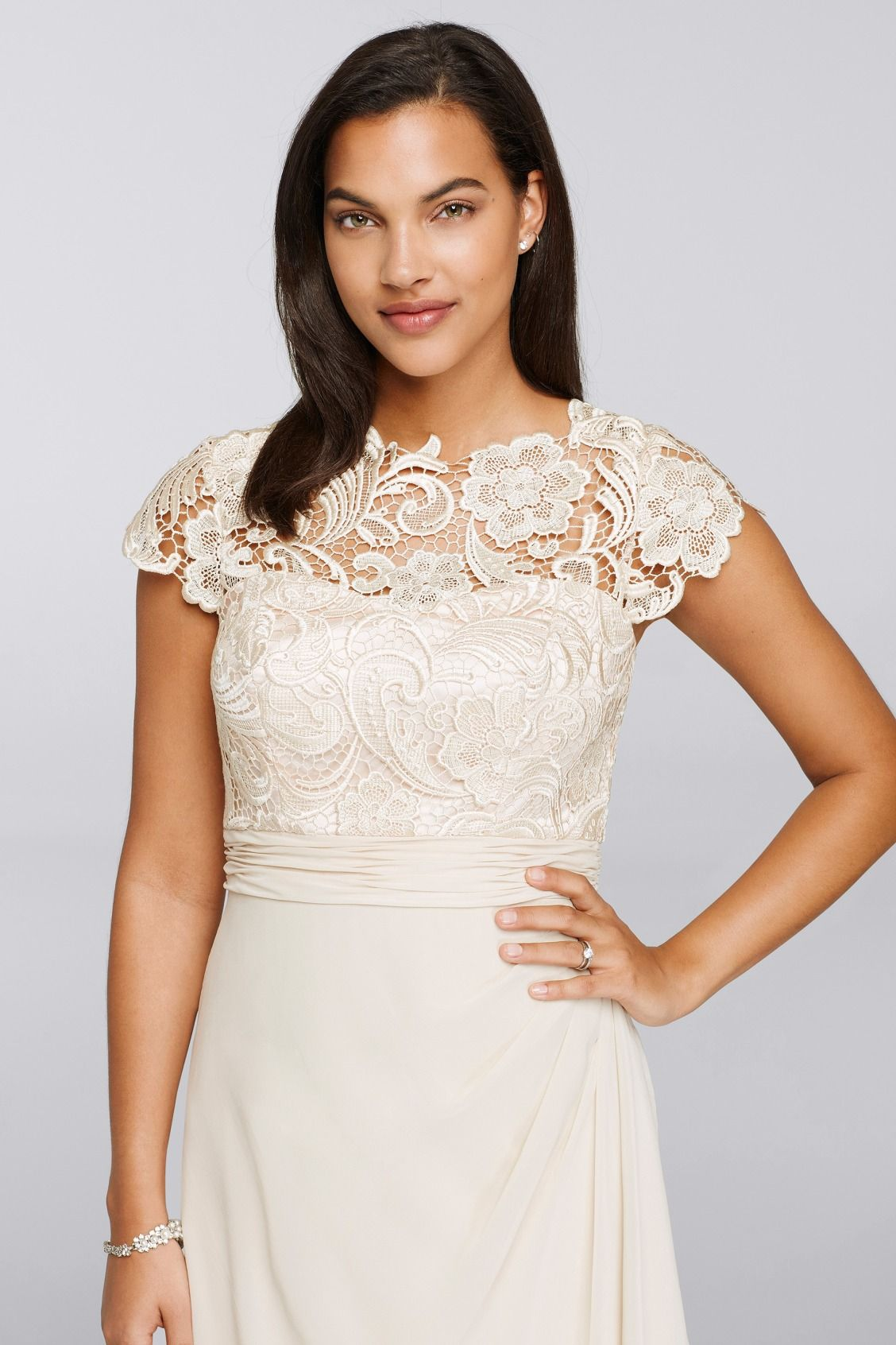 c9b79dd6b41 Lovely lace details on an Ivory Mother of the Bride dress