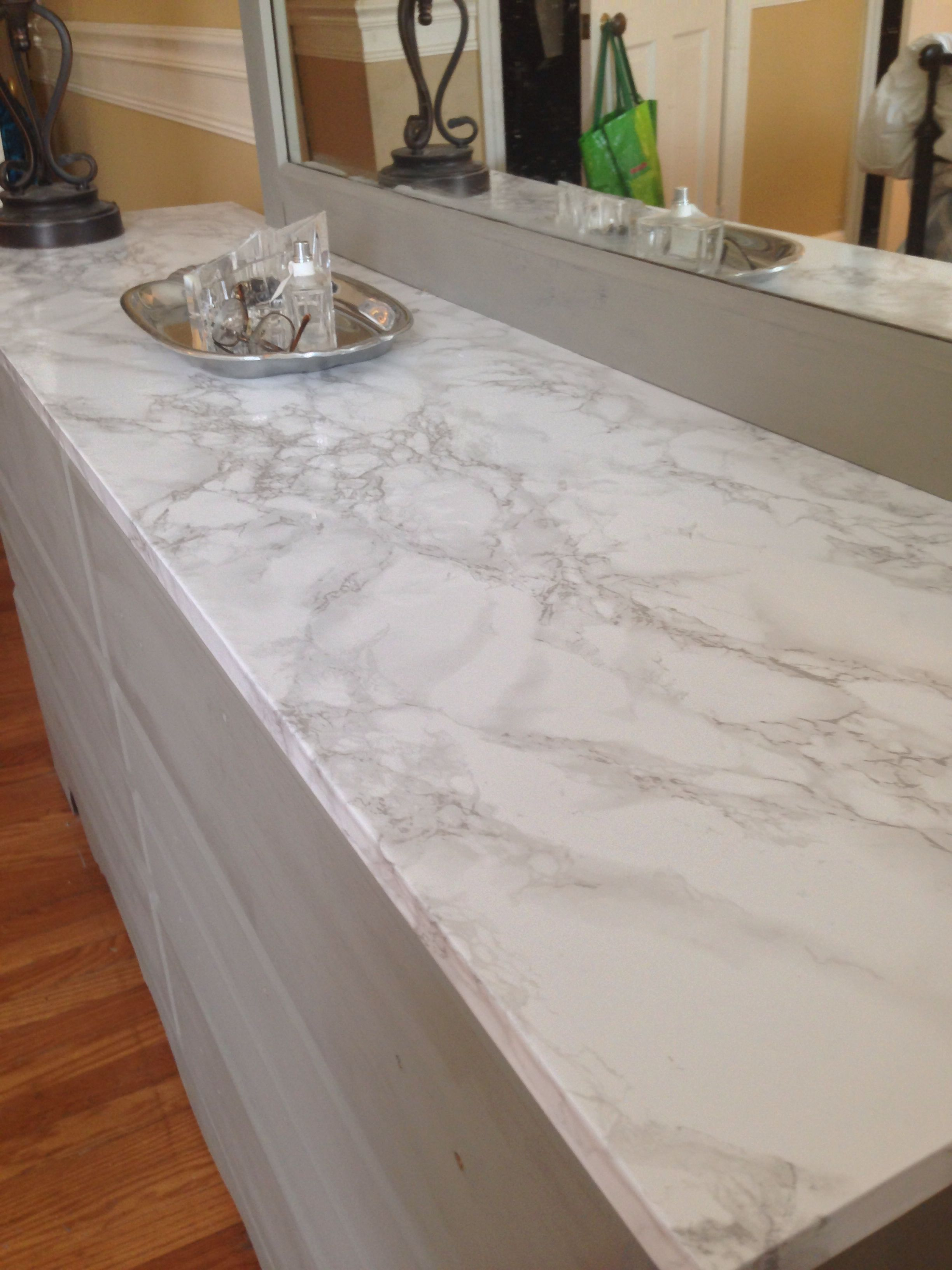 Faux Marble Contact Paper Covers Damaged Dresser Top Looks Real