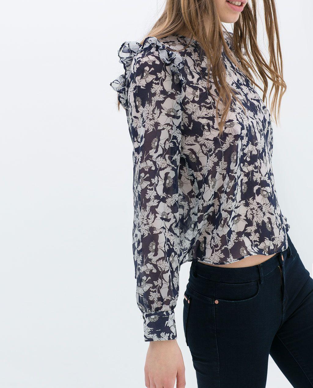 #TOP #VOLANTES @· ZARA · 25.95€ #primavera #moda #tendencia #estampado