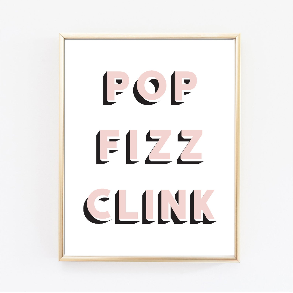 Pop Fizz Clink Printable Wall Art New Years Eve Print Nye Etsy Wall Printables Pop Fizz Clink Printable Bar Cart Print