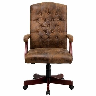Bomber Brown Classic Executive Swivel Office Chair, 802 BRN GG By Flash  Furniture