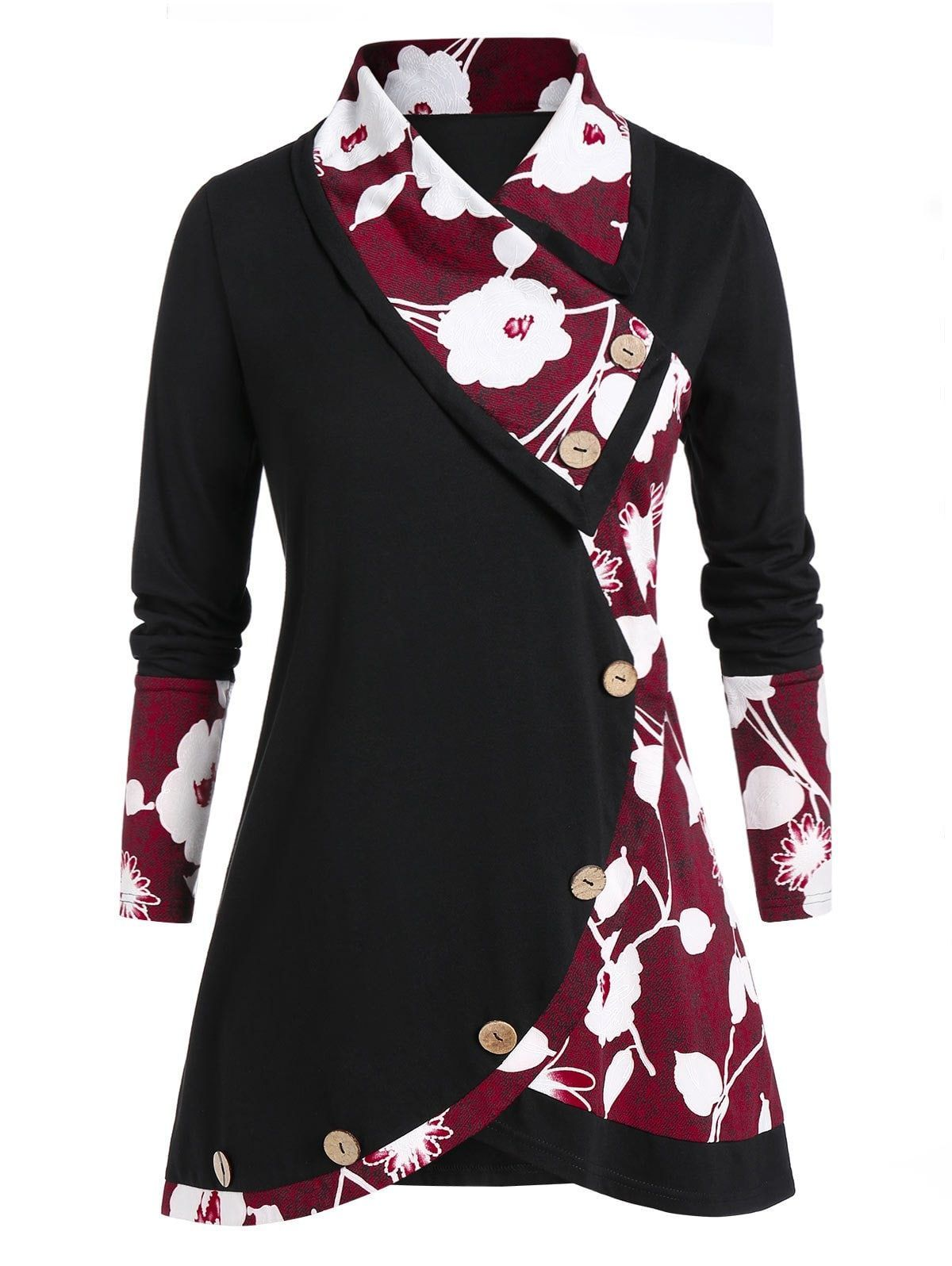 DressLily / Plus Size Long Sleeve Floral Print Tunic T Shirt#dresslily #floral #long #print #shirt #size #sleeve #tunic