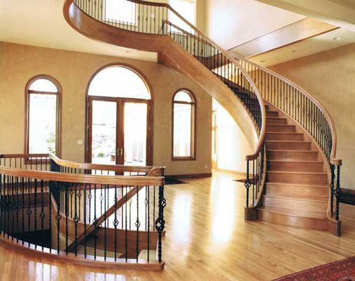 Free standing double helix curved staircase stairways for Double curved staircase