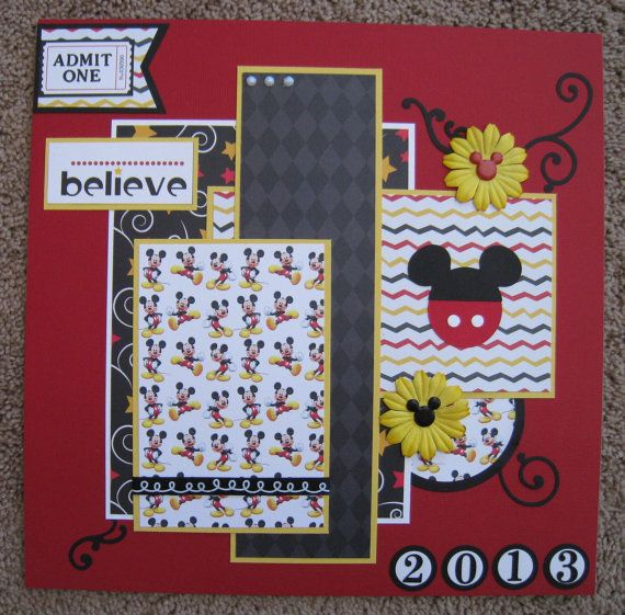 Disney Scrapbook Page Layouts   12 x 12 Disney 2Page Scrapbook Layout by TwoCraftyCreations