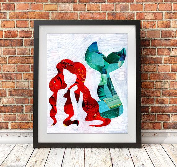 The little mermaid wall art print, Christmas gift ideas, Ariel ...