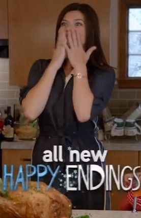 Penny's navy blue shirtdress on Happy Endings