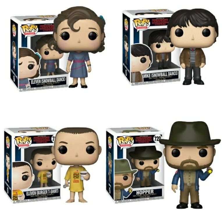 New Pop Eleven Snowball Mike Snowball Eleven Benny Burger And Hopper Whit A Light Stranger Things Funko Pop Stranger Things Setting Stranger Things