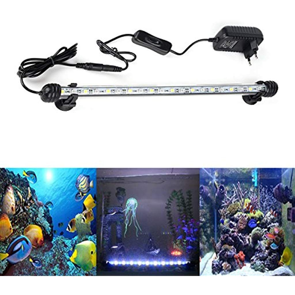 Docean Aquarium Led Beleuchtung Leuchte Lampe 21 Leds 5050smd 38cm Lighting Fur Fisch Tank Eu Stecker Weisslicht Blaul Aquarium Led Beleuchtung Blaues Licht Led