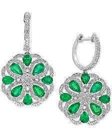EFFY® Brasilica Emerald (2-7/8 ct. t.w.) and Diamond (7/8 ct. t.w.) Drop Earrings in 14k White Gold