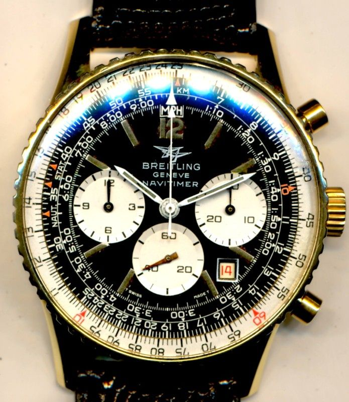 NEAR MINT VINTAGE 1973 BREITLING TWIN JET NAVITIMER 7 806 MILITARY 18k GOLD FILL