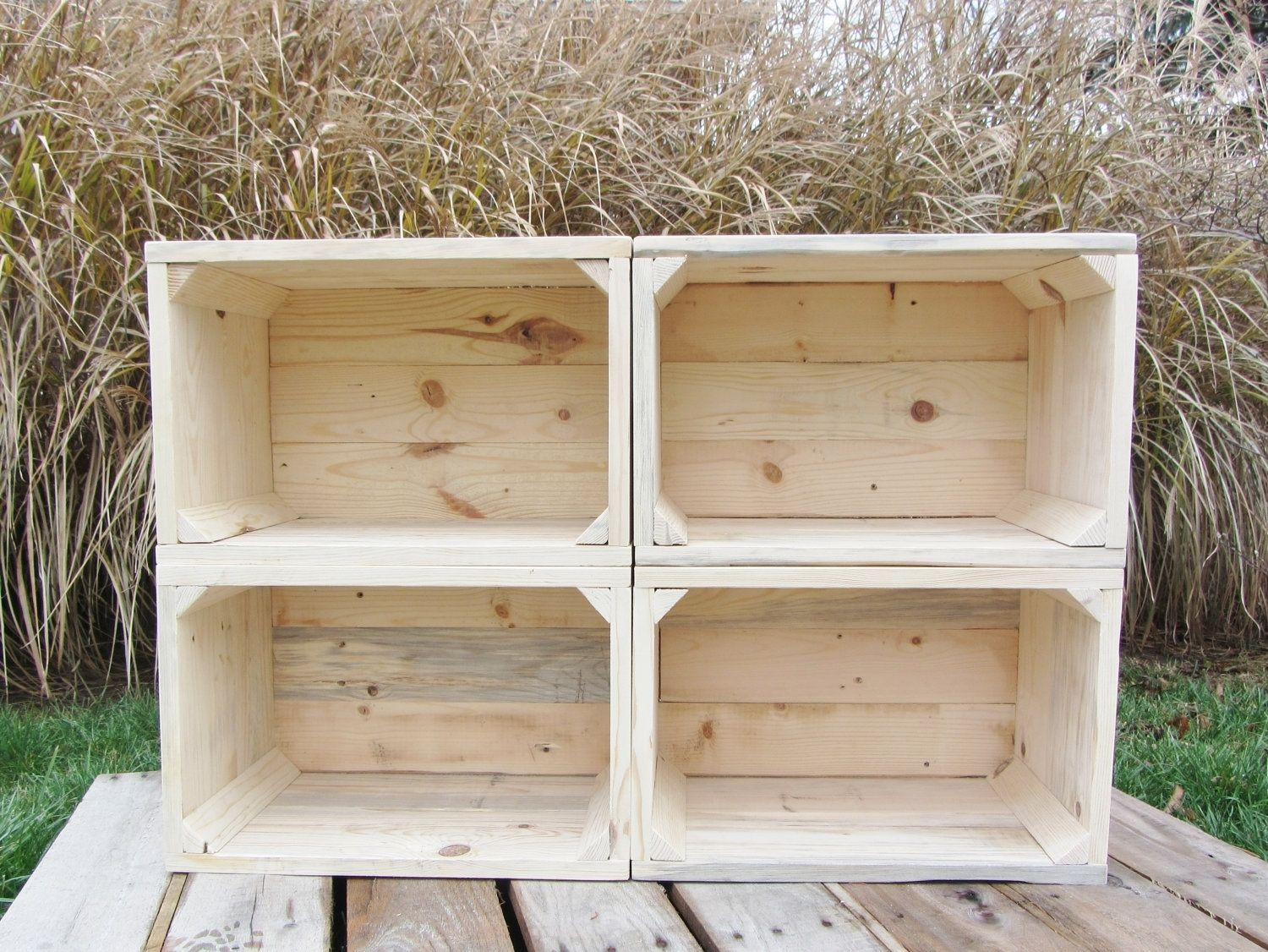 Hand Crafted Small Wood Crate Stackable Made From Reclaimed Wood Pallets Set Of 4 Crate Set By Reclaimed I Wooden Crates With Handles Wood Crates Wooden Crates
