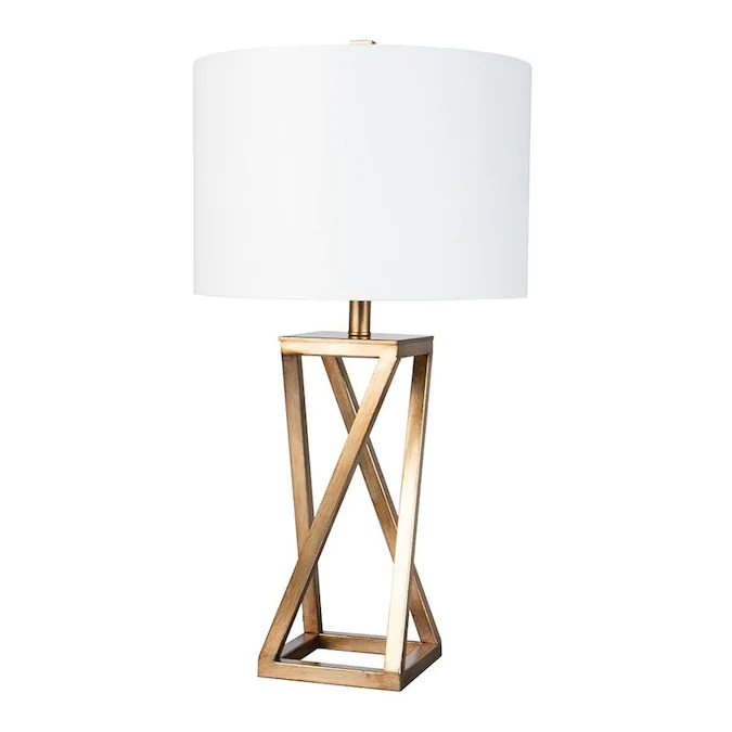 Scott Living 27 5 In Gold 3 Way Table Lamp With Fabric Shade Lowes Com Fabric Shades Lamp Table Lamp
