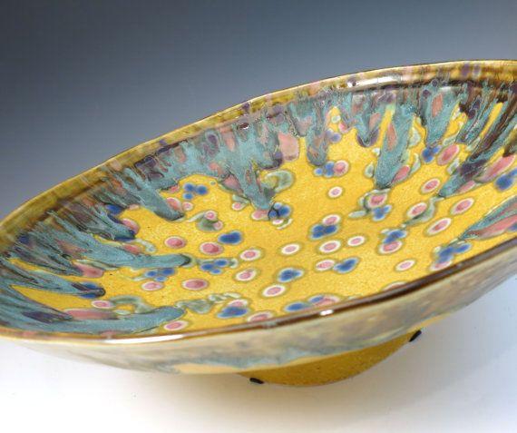 Large Decorative Yellow Ceramic Serving Bowl - Porcelain Large Wall ...
