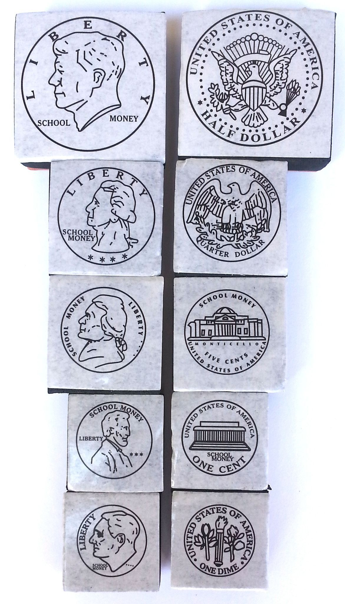Set of 10 Life Sized Coin Rubber Stampers - Count Money - Educational Teaching Aid