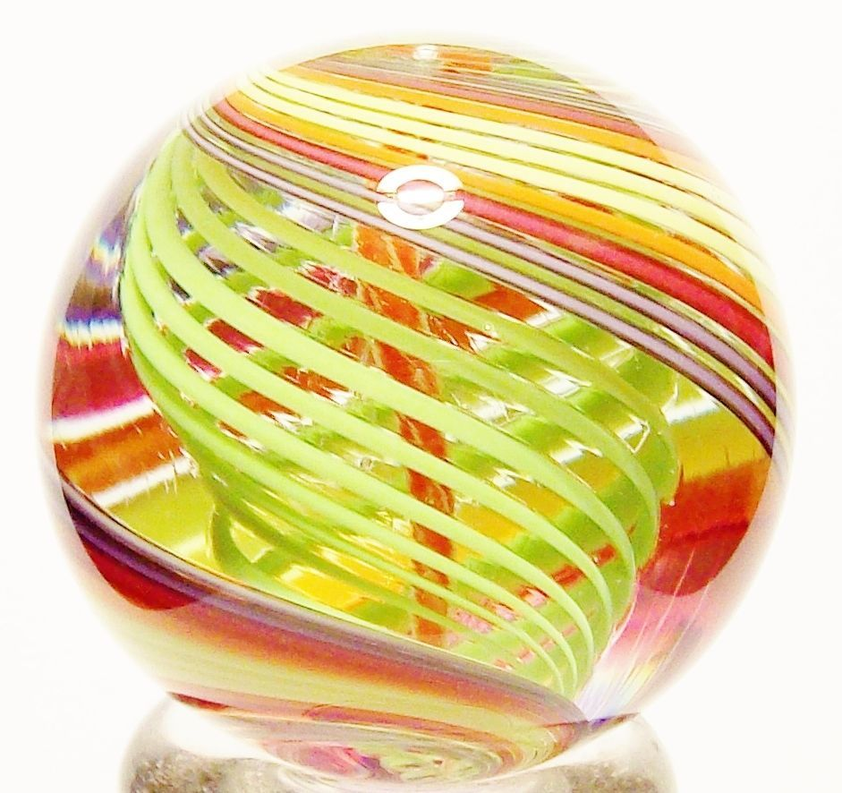 Eddie Seese Art Glass Marble 1 3 8 Solid Core Dichroic Latticino Marble Glass Marbles Glass Art Glass Paperweights