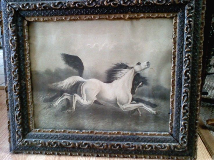 Old horses of the storm print in original frame