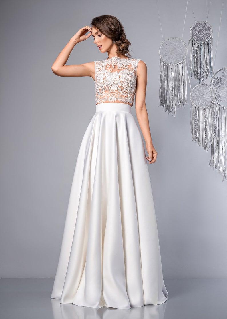 Duchess satin BRIGIDA Skirt Separates Wedding bridal maxi Detachable skirt Plus size available Simple beach wedding