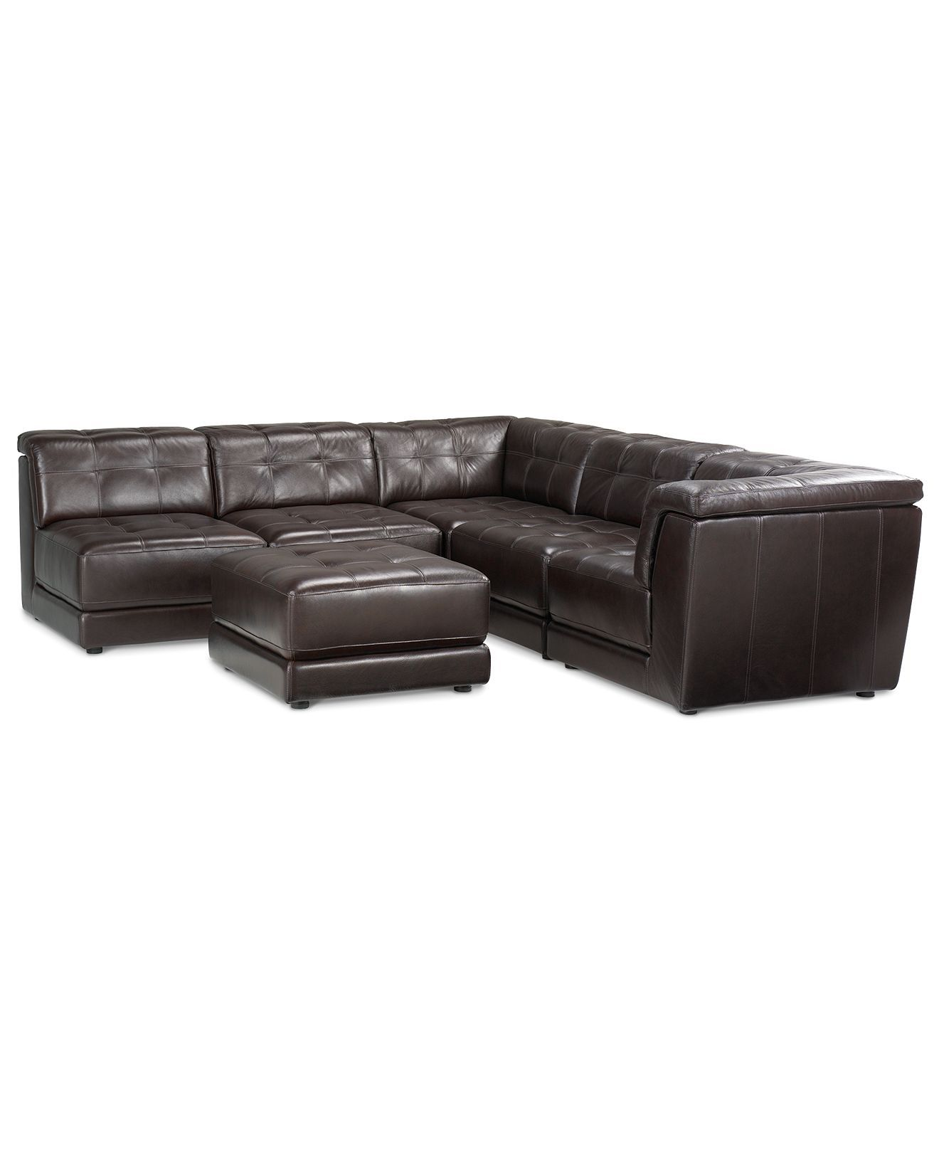 Stacey Leather 6 Piece Modular Sectional Sofa 3 Armless Chairs 2 Square Corners And Ottoman Leather Sectional Sofas Sectional Sofa Leather Modular Sofa