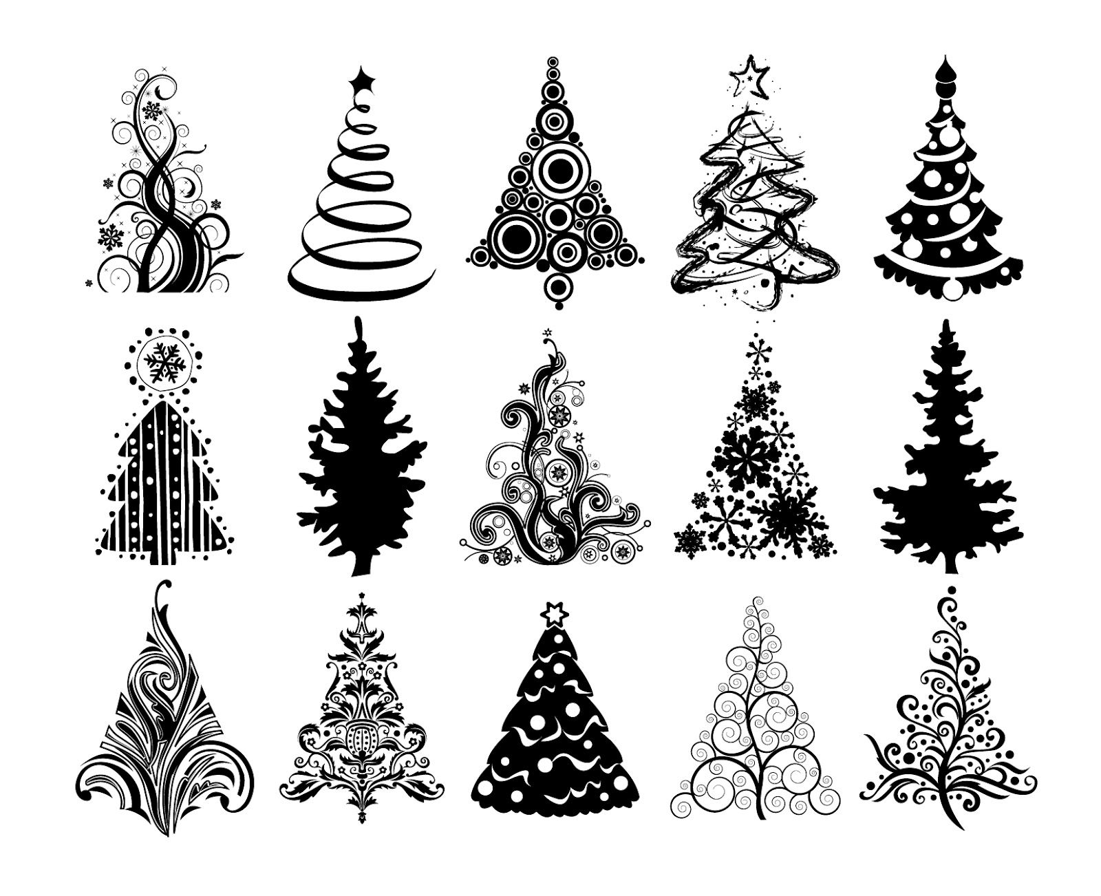 Black and white christmas tree clip art pictures to pin on pinterest - Christmas Tree Silhouette Clip Art Christmas Trees 1600 1302